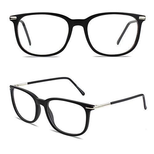 GQUEEN Retro Fake Glasses Non Prescription Glasses Matte Black, Fashion...