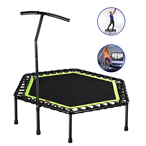 JMFHCD 48 inch Silent Mini Trampoline with Adjustable Handle Bar Fitness Indoor Trampoline Bungee Rebounder Jumping Cardio Trainer Workout, Best Home Gym for Lose Weight,Green
