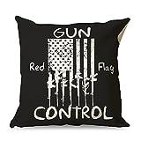 CCMugshop Funda de cojín decorativa con bandera roja de control de armas, para club blanco, 45 x 45 cm