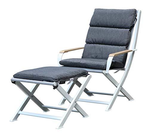 Westfield extérieur Ambre Pliante Fauteuil de Salon et Repose-Pieds avec rembourré Cushions-Lightweight, mais Robuste Cadre Prend en Charge jusqu'à 120 kg Ensemble de Meubles de Jardin L Blanc/Gris