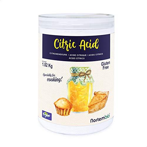 Nortembio Acide Citrique 1,02 Kg. La Meilleure Qualité Alimentaire. Intrant Biologique. Poudre, 100% Pure. E-Book Inclus.