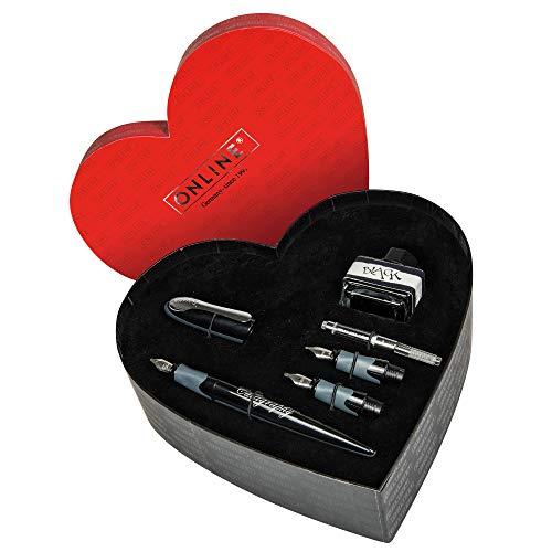 ONLINE kalligrafieset I geschenkset Best Writer I kalligrafie vulpen I schrijven met converter Set in hartvormige doos. zwart