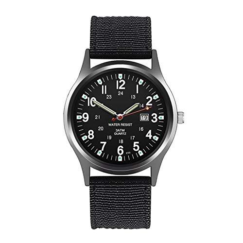 Reloj para Hombre a Prueba de Agua de Lujo de Lujo de Lujo para Hombres Nylon Wristwatch Militares Militares Fecha a Prueba de Agua Relojes de Cuarzo (Color : A)