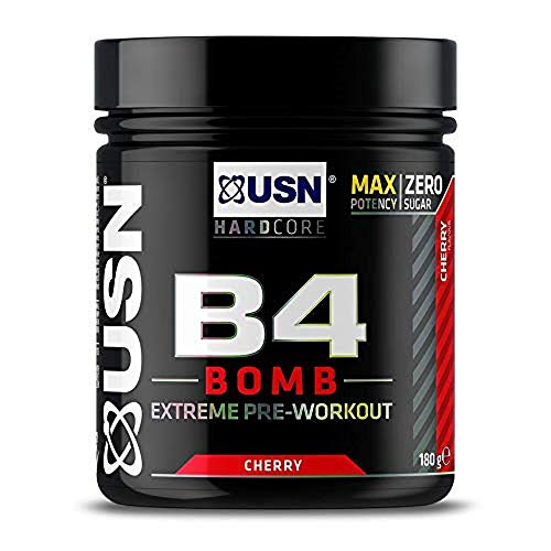 USN B4 Bomb Preworkout Energy Drink with Creatine, Caffeine, Zynamite and L-Citrulline, Cherry 180 g