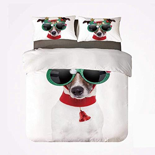 Juego de Funda nórdica para Navidad, Juego de 3 Camas, Divertido Cachorro Jack Russel con Divertidas Gafas de Sol, Figuras de Papá Noel y Campana para el hogar