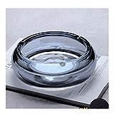 Cristal de cigarros, Contiene un cojín, diseño de Placas a Prueba de Viento, Bandeja de Ceniza Redonda para Uso doméstico, Mesa de Bandeja de Ceniza de Mesa Interior (Color: Azul, Tamaño: M) YXF99