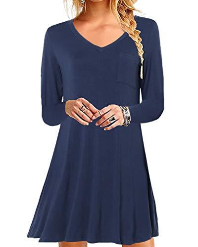 YOINS Damen Kleider Sommer Tshirtkleid für Damen Kleider Knielang Tunika Winterkleid V-Ausschnitt Elegant Brautkleid,V-blau,XL