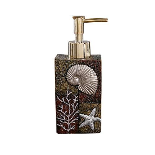 Tangerniu Kreative Harz Seifenspender mit Kunststoffpumpe Weithals Weiß Bump Mapping Lotion Flasche Haushaltswaren Badezimmer (Color : Brown)
