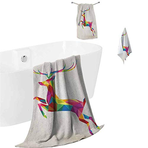 Reindeer Beach Towel Set Geometric and Colorful Deer Figure with Fractal Look and Modern Style Xmas Theme Shower Hand Face Washcloths Multicolor