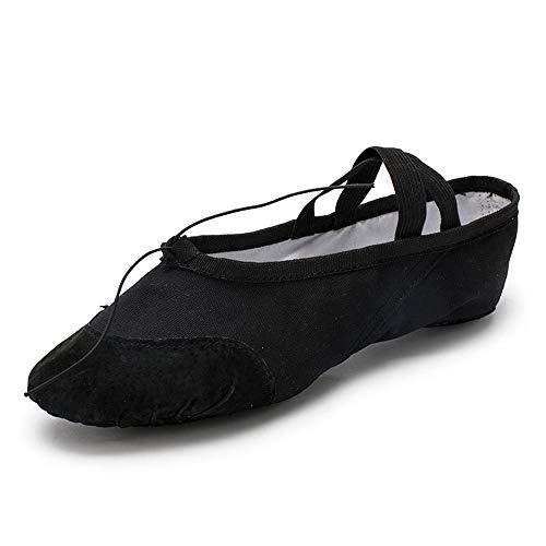 QHGao balletschoenen van linnen, voor kinderen en peuters, voor dames en heren, elastisch, zwart