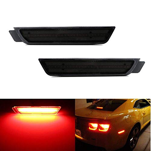 iJDMTOY Smoked Lens Red Full LED Rear Side Marker Light Kit Compatible with 2010-15 Chevy Camaro, Powered by 27-SMD LED, Replace OEM Back Sidemarker Lamps