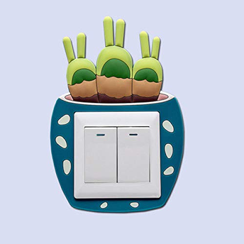 whmyz Luminoso 3D CactusLight Pegatinas para Interruptor Pegatinas de Pared Protector de Interruptor Sala de Estar Pegatina de Pared Moderna Enchufe decorac