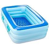 プール 2.1mビニールプール 3-4人遊べるファミリープール 子供用水遊びプール 3気室家庭用プール 大型プール 長方形ベビープール 自宅リゾート ベランダ お庭で水あそび ビッグサイズ