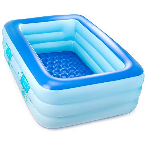 プール 2.1mビニールプール 3-4人遊べるファミリープール 子供用水遊びプール 3気室家庭用プール 大型プー...