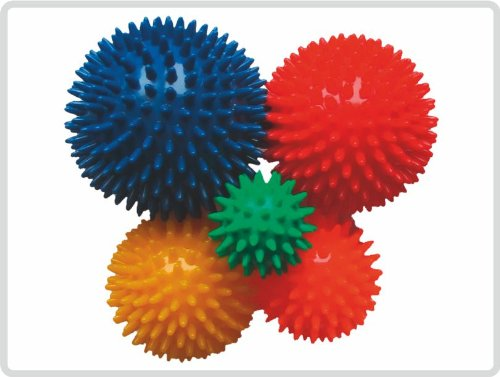 Noppenball Massageball 5er-Set (grün, orange, gelb, rot und blau) - Igelball Igel-Ball Wutball