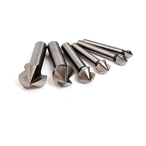 """Woodworking Router Bits, 90 Degree V Groove Cutting Tools HHS 3-Flute CNC Engraving Bit Grooving Router Bits, 6.3mm(1/4""""), 8.3mm(1/3""""), 10.4mm(2/5""""), 12.4mm(12/25""""), 16.5mm(13/20""""), 20.5mm(4/5"""")"""