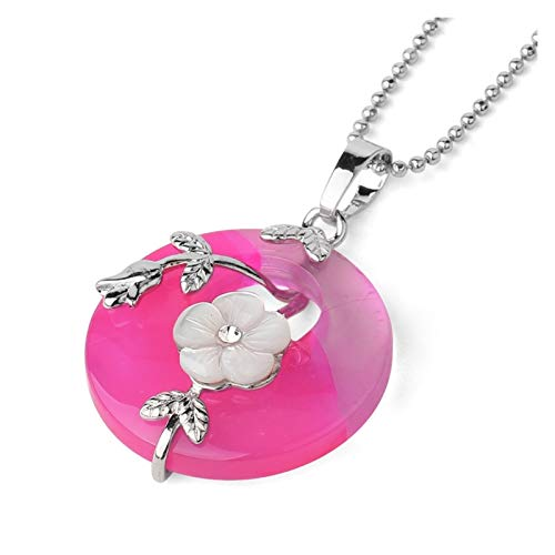 ZZYLHS Natural Stone Round Pendants Necklaces Crystal Silver-color Carved Flower Leaf Turquoises Women Trendy Jewelry Accessories (Metal color : Rose Red Veins Agate)