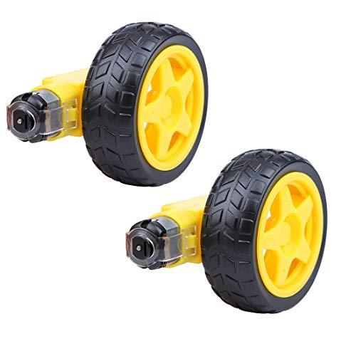 HiLetgo 2pcs Smart Car Robot Plastic Tire Wheel with DC 3-6V Gear Motor for Robot 6527MM