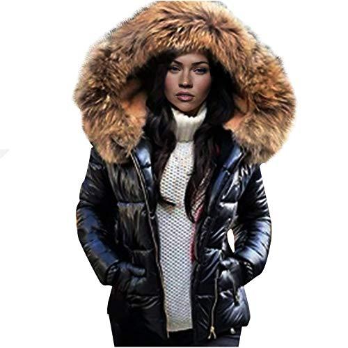 Realde Cappotto Invernale da Donna con Collo con Cappuccio e Piumino Caldo Cappotto Lucido Corto Cappotto Portatile Termico Cappotto Fashion Vintage Eleganti Giacche