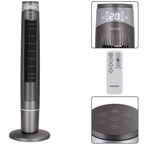 monzana Turmventilator MZTV120 Fernbedienung 120cm 12 Std. Timer 3 Modi 6 Geschwindigkeitsstufen 90° Oszillation Standventilator Ventilator