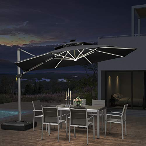 PURPLE LEAF 12ft Solar Powered LED Patio Umbrella Outdoor Round Umbrella Large Cantilever Umbrella with LED Lights Windproof Offset Umbrella Heavy Duty Sun Umbrella for Garden Deck Pool Patio, Black