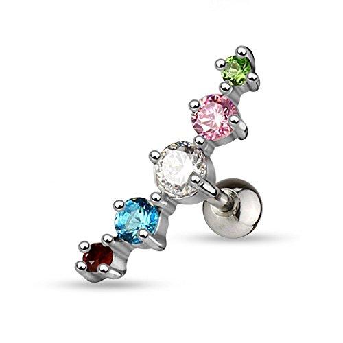Gekko de piercings para el cartílago acero quirúrgico Journey Gem la oreja o para el diseño de arco iris 5/de tuerca para el cartílago de la