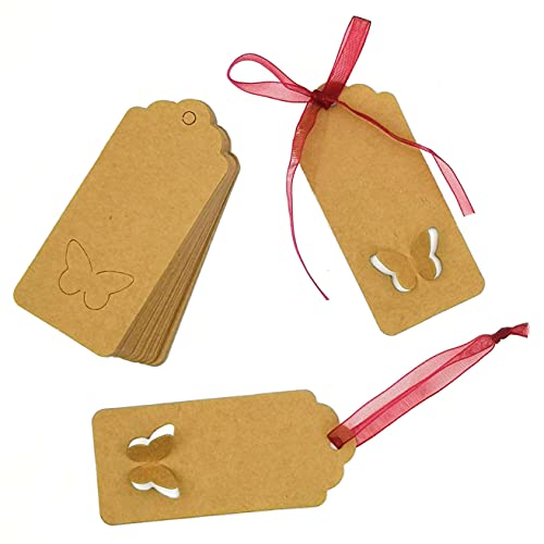 MAFELOE Kraft Paper Tags Gift Tags 100Pcs with Red Ribbon 20 Meters for Wedding Valentine's Day Birthday Decoration, Butterfly Shape Tag Gift Packaging Label Brown Craft Hang Tags