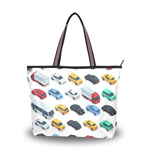 XiangHeFu Bolsos de mujer Road Cars Patrón Bolso de hombro de tela de poliéster