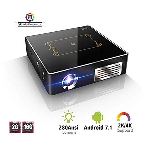 DHINGM Mini Proyector portátil Inteligente, Conveniente for el Entretenimiento de Cine en casa Juegos de Sociedad y Office