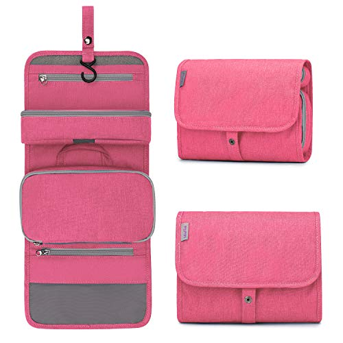 Wind Took Beauty Case Unisex Beauty Case da Viaggio Appendibile Beauty da Viaggio Trousse da Toilette Beauty Case Grande Wash Bag Impermeabile Rosa