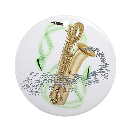 Cukudy bariton saxofoon keramisch ornament 3 inch ronde vakantie kerstversiering