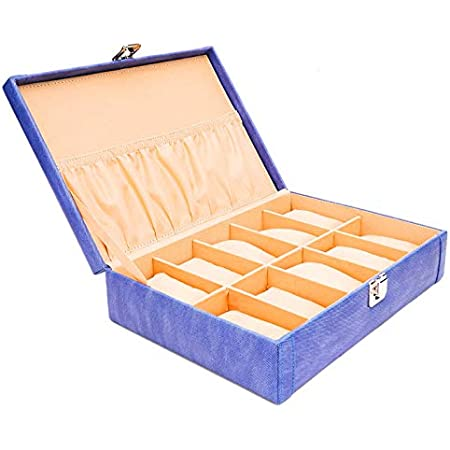 LEDO Watch box holder organizer case for Men and Women in Blue color with 12 slots of watches