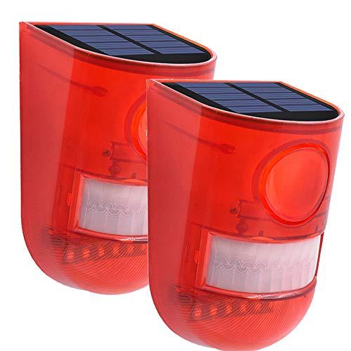 ALLOMN Solar Alarmleuchte, Klingen Alarm Blitzlicht PIR Bewegungsmelder Sicherheitsalarm Warnung Blinklicht, 110db 6 LED Rotlicht IP65 Wasserdicht, Zwei Modi, 5-8M Schaltabstand (2 Stück)