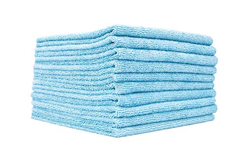 The Rag Company (10 Pack Edgeless 300 16 x 16 Microfiber Terry Towel, Light Blue