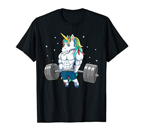 Deadlift Fitness Gym Tee, Einhorn Gewichtheben T-Shirt