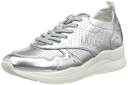 Liu Jo Shoes Karlie 14-Sneaker Met Leath Slv, Scarpe da Ginnastica Basse Donna, Argento (Silver 00532), 39 EU