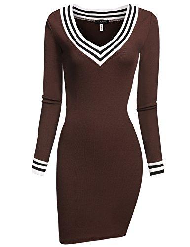 ACEVOG Damen figurbetontes Strickkleid Stricken Pullover Langarm mit V-Ausschnitt Stricken Freizeitkleid Casual Kleid Partykleid (EU...