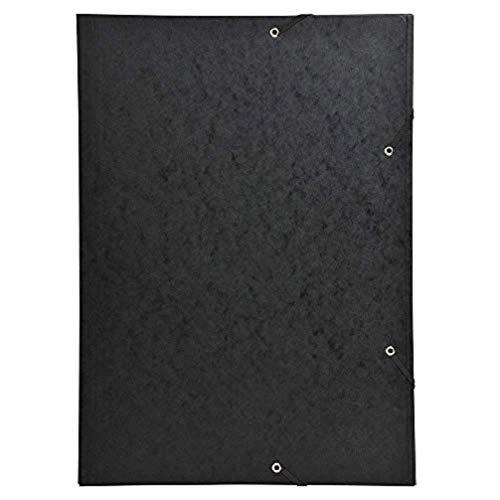 Exacompta 59502E Sammelmappe (Gummizug, 3 Klappen, Manila Karton 600 gm², für DIN A3, 29,7 x 42 cm) 1 Stück schwarz