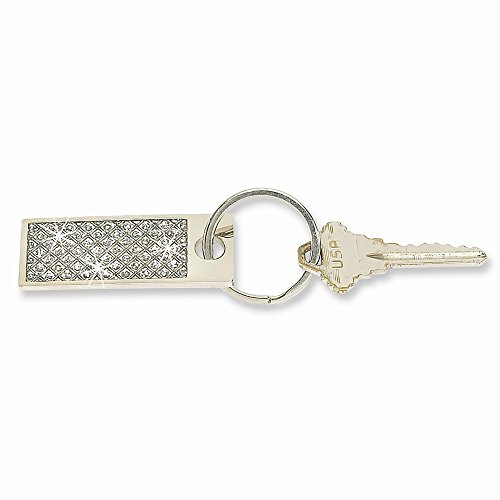 ICE CARATS Silver Tone Glitter Rectangle Key Band Ring Size Money Clip Wallet Fashion Jewellery for Dad Mens Gifts for Him