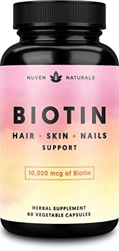 Hair Vitamins-Biotin 10000 mcg for Hair Growth, Hair Skin and Nails Vitamins + Adaptogens, Hair Growth Vitamins, Hair Vitamins for Faster Hair Growth, Biotin for Hair Growth, Biotin Supplement