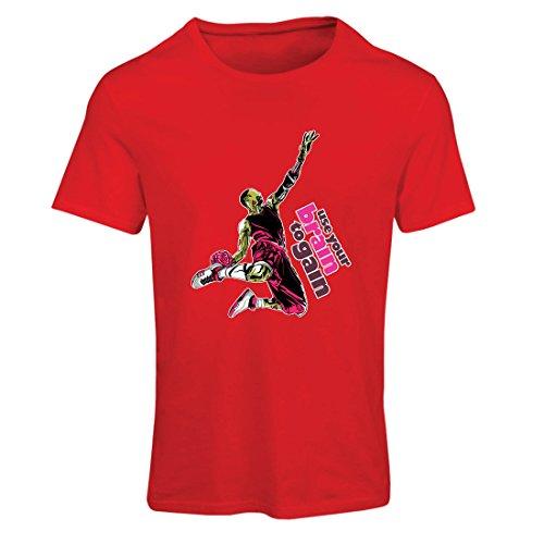 lepni.me Camiseta Mujer USA tu Cerebro para Ganar! Regalos temáticos Frescos del Jugador de básquet (Small Rojo Multicolor)