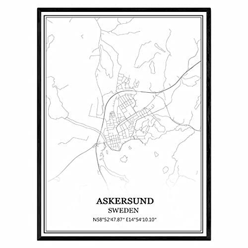 Askersund Suecia Mapa de pared arte lienzo impresión cartel obra