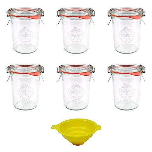 Viva Haushaltswaren - 6 x Mini Weckglas/Einmachglas 160 ml mit Deckel in Sturzform, leeres Rundrandglas zum Einkochen - als Marmeladenglas, Dessertglas (inkl. Klammern, Ringen & Trichter)