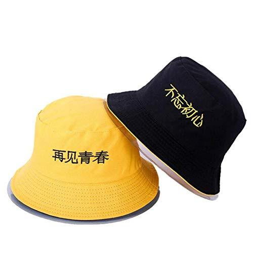 Bucket Hat Chapeau Lettre Broderie Chapeau De Seau Réversible Casquette Deux Côtés Porter Chapeau D'Été Coton Chapeau De Pêche Sports De Plein Air Plage Panama Hommes Adultize Color19