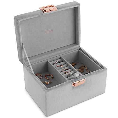 Beautify Schmuckschatulle - Schmuckkästchen mit grauem Samtbezug – 2 Mehrzweckfächer & Ringkissen – Entnehmbare Ablage – Verschluss in Roségold