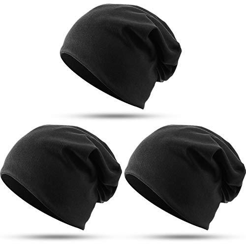 SATINIOR 3 Pack Cotton Slouchy Beanie Hats, Hip-Hop Skull Cap Daily Beanie for Women Men
