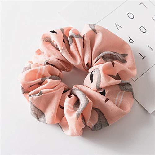 Bandeau Floral Flamingo Solid Design Hairband Femmes Cheveux Accessoires Cheveux Cravate Scrunchie Ponytail Hair Holder Corde-Rose