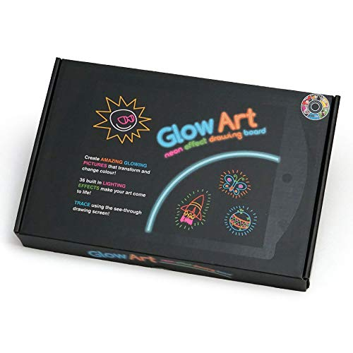 Marvin's Magic - Glow Art Unique Craft Kit | Light Up Kids Art Set | Includes Neon Effect Drawing Board With A Built-in Stand and 4 Fluorescent Magic Pens - Black