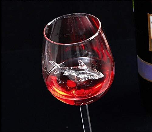 Zgq Tiburón Copa de Vino Tinto Diseño de Botella de Vino Copa de Whisky Cena Decorar Cristal Hecho a Mano Flautas de Fiesta Copa de champán-Tiburón 21cm