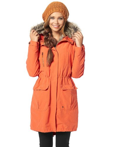 AJC Damen Parka mit herausnehmbarem Fell und Kapuze (38 (Herstellergröße 36), Orange)